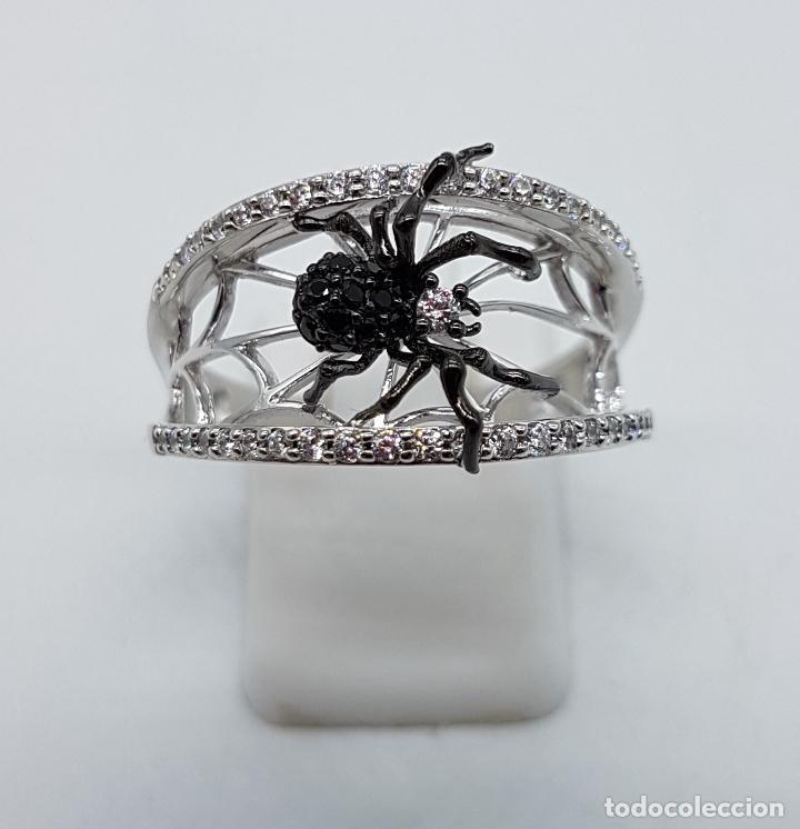 Joyeria: Magnífico anillo de estilo gotico en plata de ley punzonada con circonitas y araña realista . - Foto 3 - 142129452