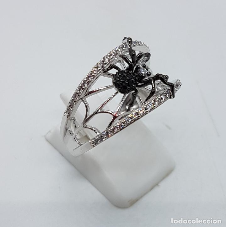 Joyeria: Magnífico anillo de estilo gotico en plata de ley punzonada con circonitas y araña realista . - Foto 4 - 142129452