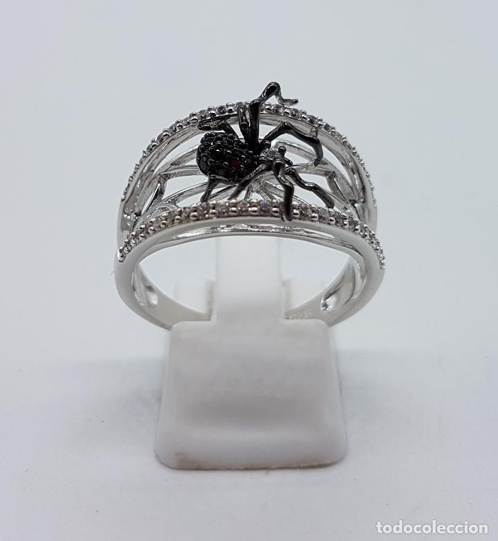 Joyeria: Magnífico anillo de estilo gotico en plata de ley punzonada con circonitas y araña realista . - Foto 5 - 142129452