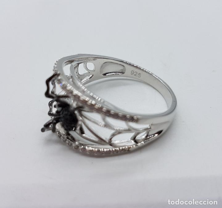 Joyeria: Magnífico anillo de estilo gotico en plata de ley punzonada con circonitas y araña realista . - Foto 6 - 142129452