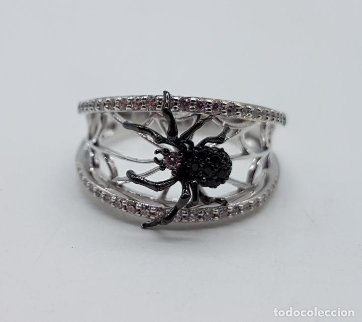 Joyeria: Magnífico anillo de estilo gotico en plata de ley punzonada con circonitas y araña realista . - Foto 7 - 142129452