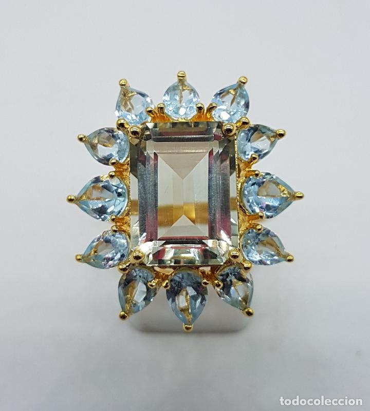 Joyeria: Espectacular anillo de estilo marquesa en plata de ley, oro de 18k, gran aguamarina talla esmeralda. - Foto 2 - 159657520