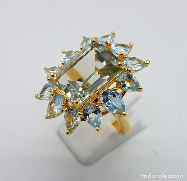 Joyeria: Espectacular anillo de estilo marquesa en plata de ley, oro de 18k, gran aguamarina talla esmeralda. - Foto 3 - 159657520