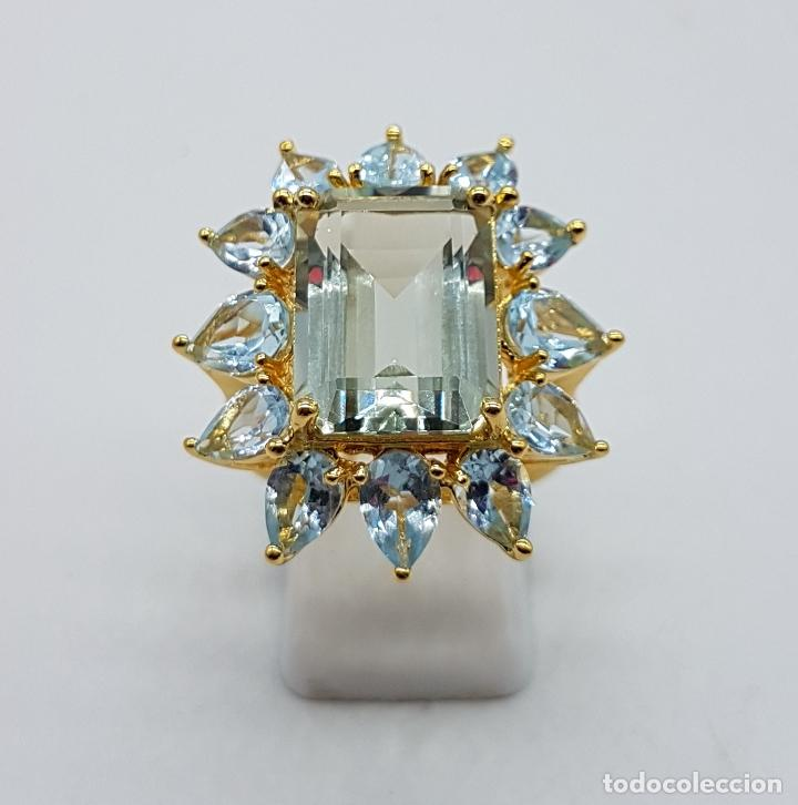 Joyeria: Espectacular anillo de estilo marquesa en plata de ley, oro de 18k, gran aguamarina talla esmeralda. - Foto 4 - 159657520
