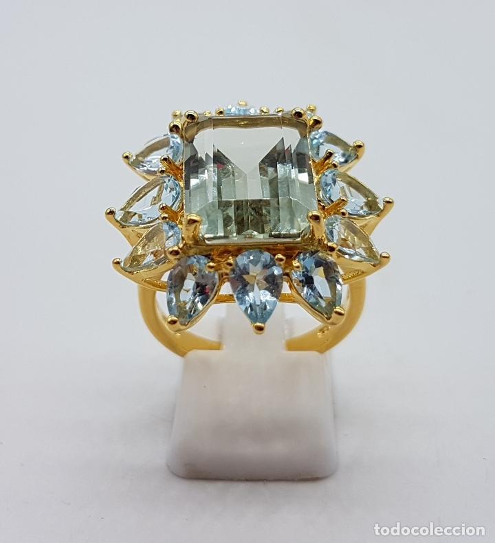 Joyeria: Espectacular anillo de estilo marquesa en plata de ley, oro de 18k, gran aguamarina talla esmeralda. - Foto 5 - 159657520