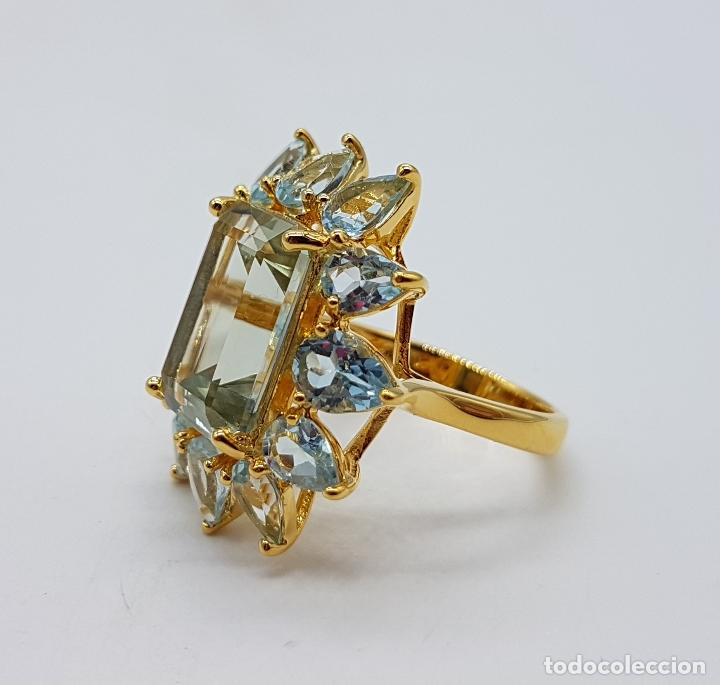 Joyeria: Espectacular anillo de estilo marquesa en plata de ley, oro de 18k, gran aguamarina talla esmeralda. - Foto 6 - 159657520