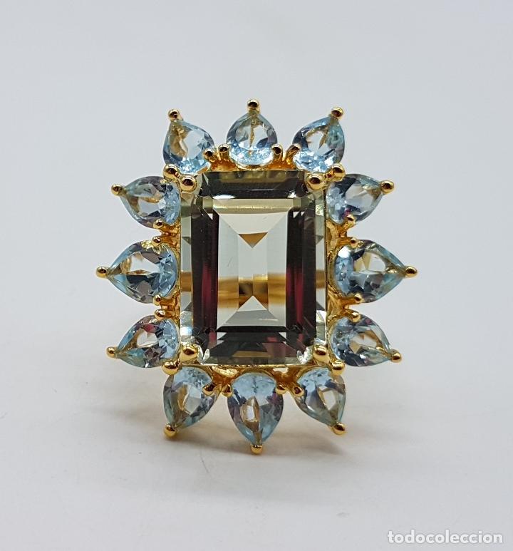 Joyeria: Espectacular anillo de estilo marquesa en plata de ley, oro de 18k, gran aguamarina talla esmeralda. - Foto 7 - 159657520