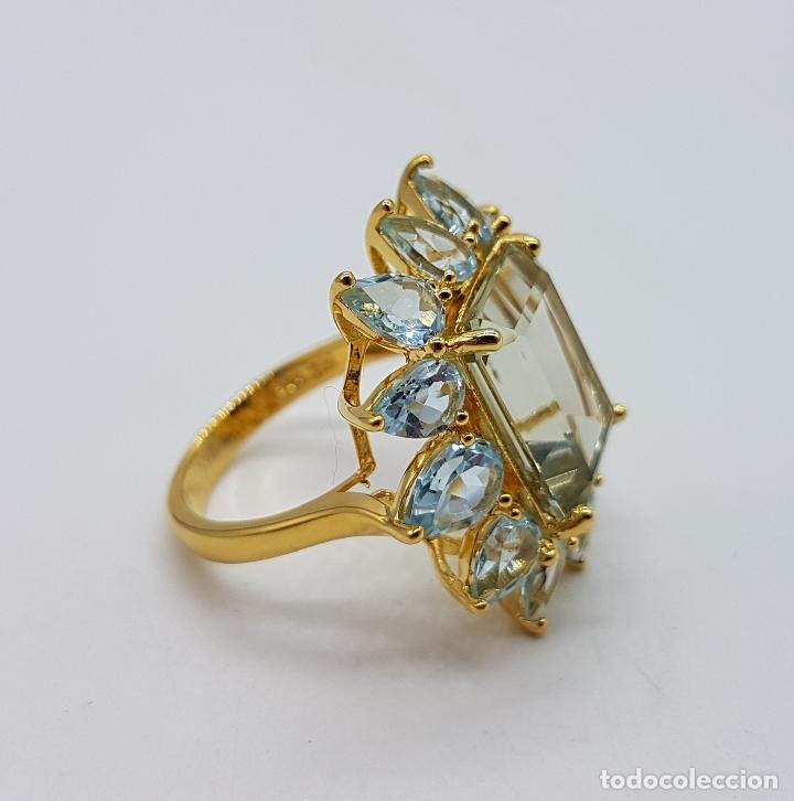 Joyeria: Espectacular anillo de estilo marquesa en plata de ley, oro de 18k, gran aguamarina talla esmeralda. - Foto 8 - 159657520