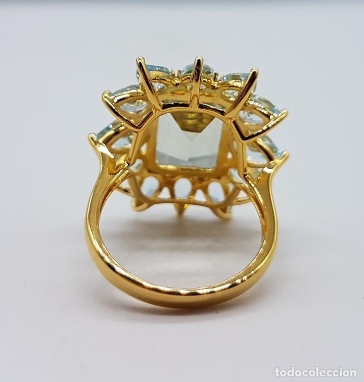 Joyeria: Espectacular anillo de estilo marquesa en plata de ley, oro de 18k, gran aguamarina talla esmeralda. - Foto 9 - 159657520