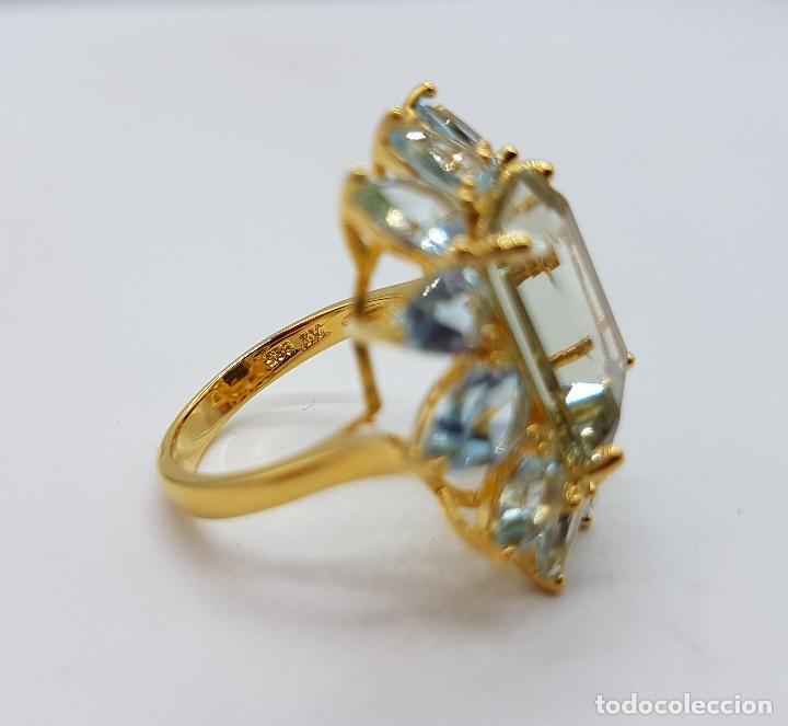 Joyeria: Espectacular anillo de estilo marquesa en plata de ley, oro de 18k, gran aguamarina talla esmeralda. - Foto 10 - 159657520