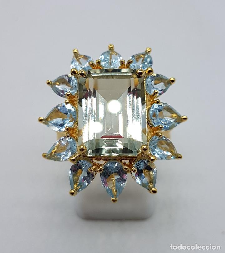 Joyeria: Espectacular anillo de estilo marquesa en plata de ley, oro de 18k, gran aguamarina talla esmeralda. - Foto 11 - 159657520