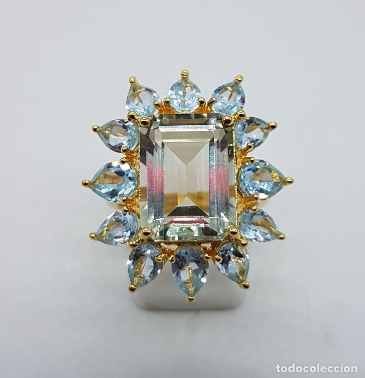 Joyeria: Espectacular anillo de estilo marquesa en plata de ley, oro de 18k, gran aguamarina talla esmeralda. - Foto 12 - 159657520