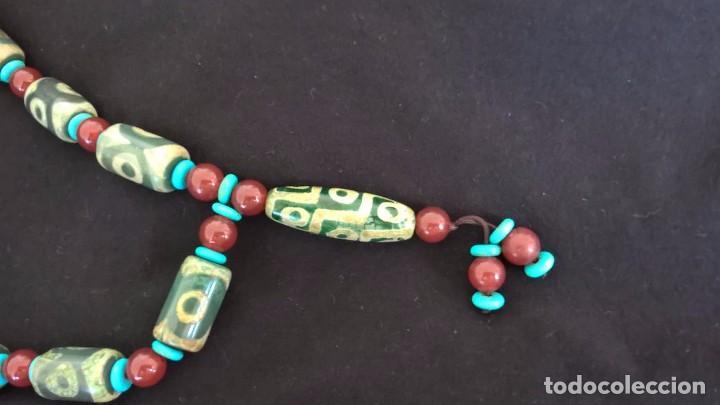 Joyeria: Collar tibetano antiguo de ágata dzi y turquesa. 17 Dzi de 3 y 9 ojos. Nepal. Siglo XX. - Foto 5 - 105366611