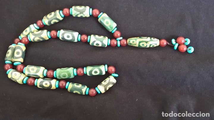 Joyeria: Collar tibetano antiguo de ágata dzi y turquesa. 17 Dzi de 3 y 9 ojos. Nepal. Siglo XX. - Foto 7 - 105366611