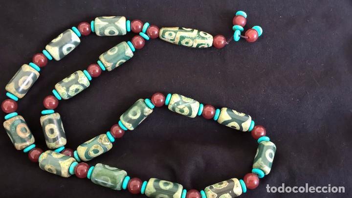 Joyeria: Collar tibetano antiguo de ágata dzi y turquesa. 17 Dzi de 3 y 9 ojos. Nepal. Siglo XX. - Foto 11 - 105366611