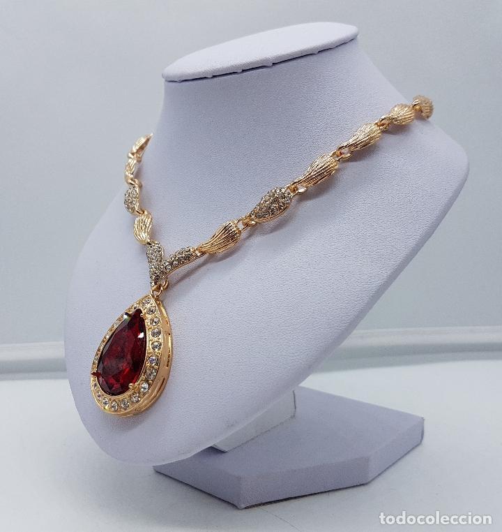 Joyeria: Gargantilla de estilo imperio chapado en oro de 14k con símil de circonitas y rubi talla lagrima . - Foto 2 - 161406337