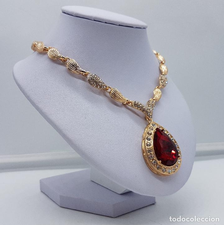 Joyeria: Gargantilla de estilo imperio chapado en oro de 14k con símil de circonitas y rubi talla lagrima . - Foto 3 - 161406337