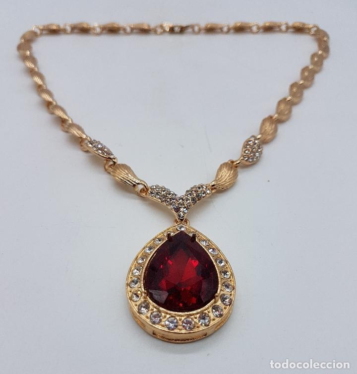 Joyeria: Gargantilla de estilo imperio chapado en oro de 14k con símil de circonitas y rubi talla lagrima . - Foto 4 - 161406337