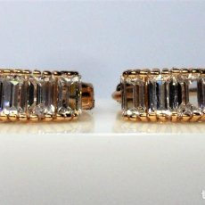 Joyeria - Pendientes en oro rosa de 14 k, tipo aro, con topacios blancos engastados en garras - 105705723