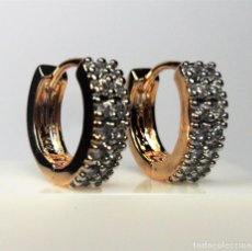 Joyeria - Pendientes en oro rosa de 14 k, tipo aro, con circonios engastados en garras - 105705755