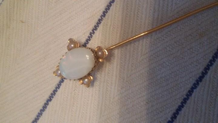 Joyeria: alfiler victoriano de corbata o foular, opalo con 4 perlas engarzado en oro de 18 k,siglo xix - Foto 10 - 65020795