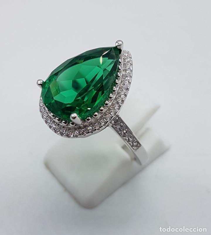 Joyeria: Gran sortija tipo imperio en plata de ley contrastada, topacio verde esmeralda talla pera . - Foto 2 - 106452635