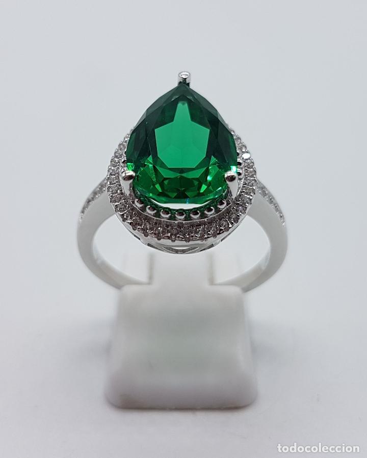 Joyeria: Gran sortija tipo imperio en plata de ley contrastada, topacio verde esmeralda talla pera . - Foto 3 - 106452635