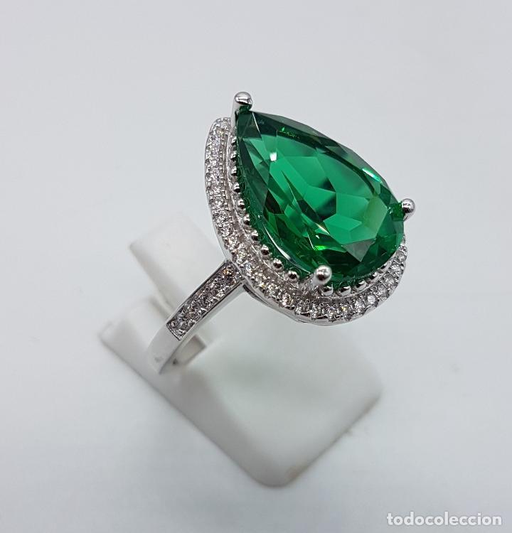 Joyeria: Gran sortija tipo imperio en plata de ley contrastada, topacio verde esmeralda talla pera . - Foto 4 - 106452635