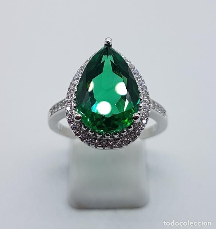 Joyeria: Gran sortija tipo imperio en plata de ley contrastada, topacio verde esmeralda talla pera . - Foto 5 - 106452635