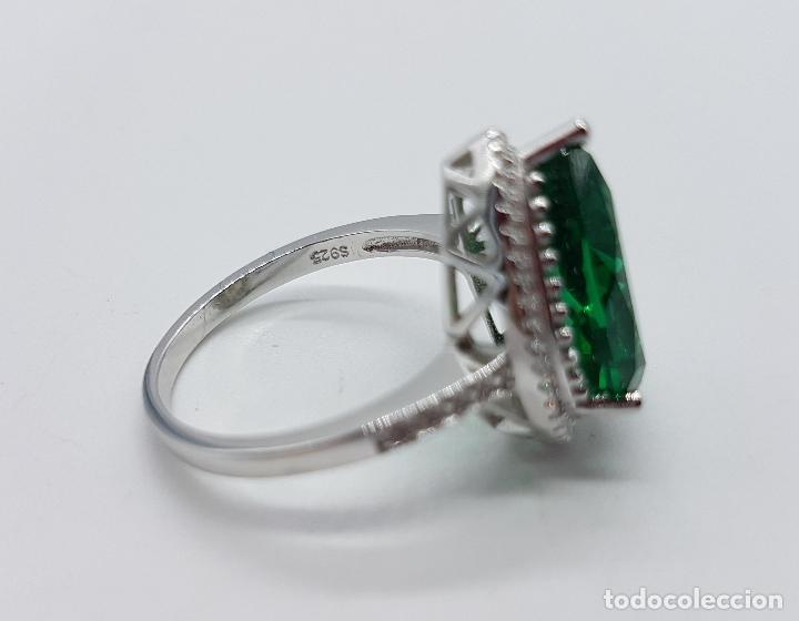 Joyeria: Gran sortija tipo imperio en plata de ley contrastada, topacio verde esmeralda talla pera . - Foto 6 - 106452635