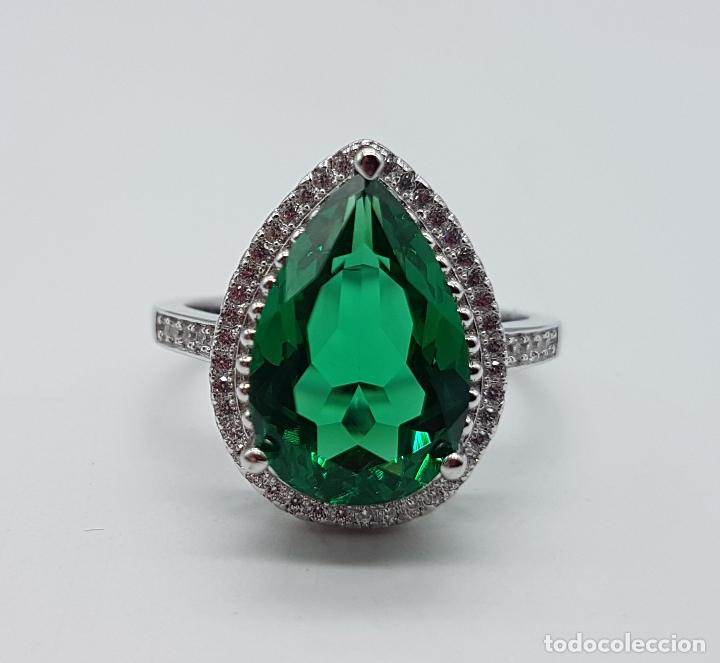 Joyeria: Gran sortija tipo imperio en plata de ley contrastada, topacio verde esmeralda talla pera . - Foto 7 - 106452635