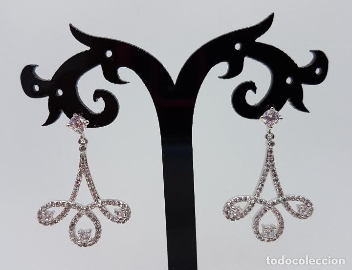 Joyeria: Bellos pendientes antiguos en plata de ley con circonitas talla brillante engarzadas . - Foto 2 - 135275050