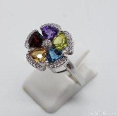Joyeria - Sortija de estilo modernista en plata de ley, zafiro, amatista, granate, citrino y peridoto . - 140138657