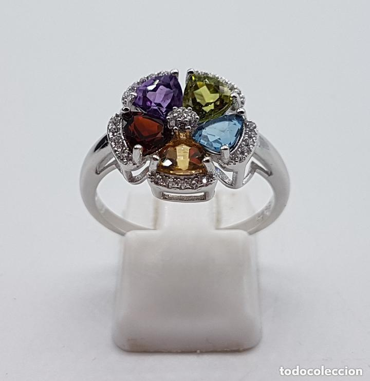 Joyeria: Sortija de estilo modernista en plata de ley, zafiro, amatista, granate, citrino y peridoto . - Foto 2 - 140138657