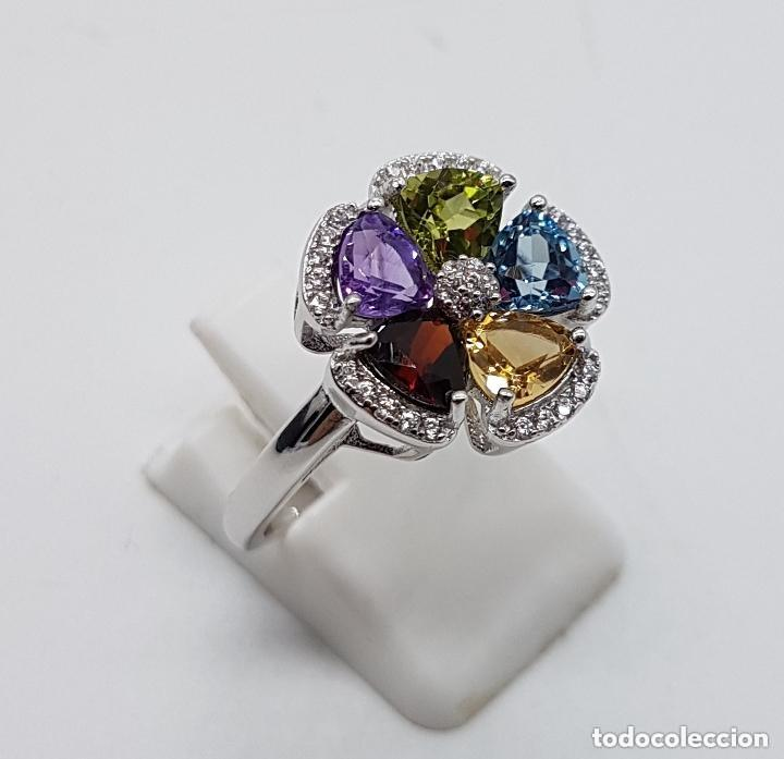 Joyeria: Sortija de estilo modernista en plata de ley, zafiro, amatista, granate, citrino y peridoto . - Foto 3 - 140138657