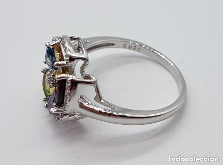 Joyeria: Sortija de estilo modernista en plata de ley, zafiro, amatista, granate, citrino y peridoto . - Foto 5 - 140138657