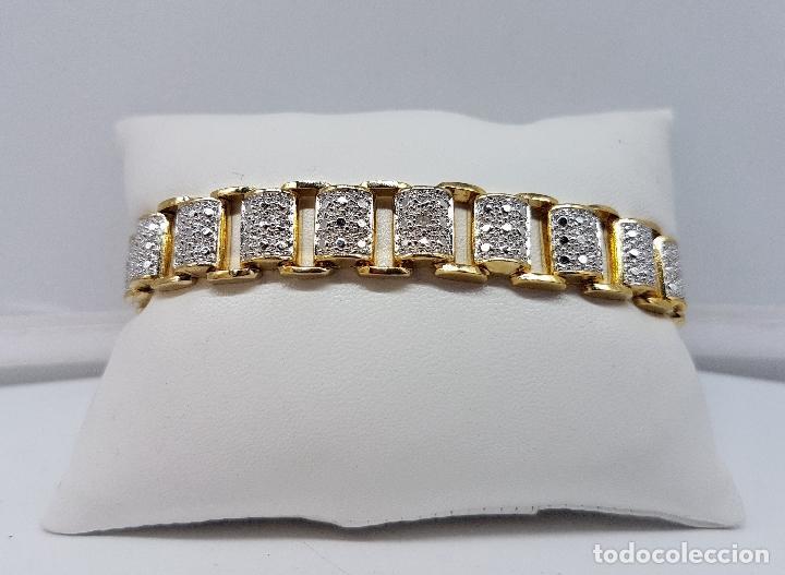 Joyeria: Pulsera antigua en plata de ley contrastada, oro amarillo y blanco de 18k, con bellos grabados . - Foto 4 - 198608141