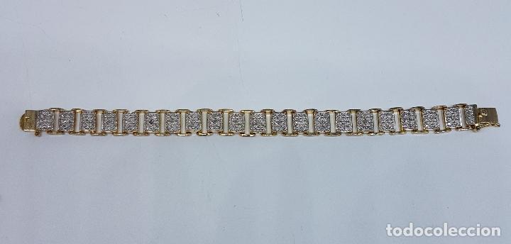 Joyeria: Pulsera antigua en plata de ley contrastada, oro amarillo y blanco de 18k, con bellos grabados . - Foto 7 - 198608141