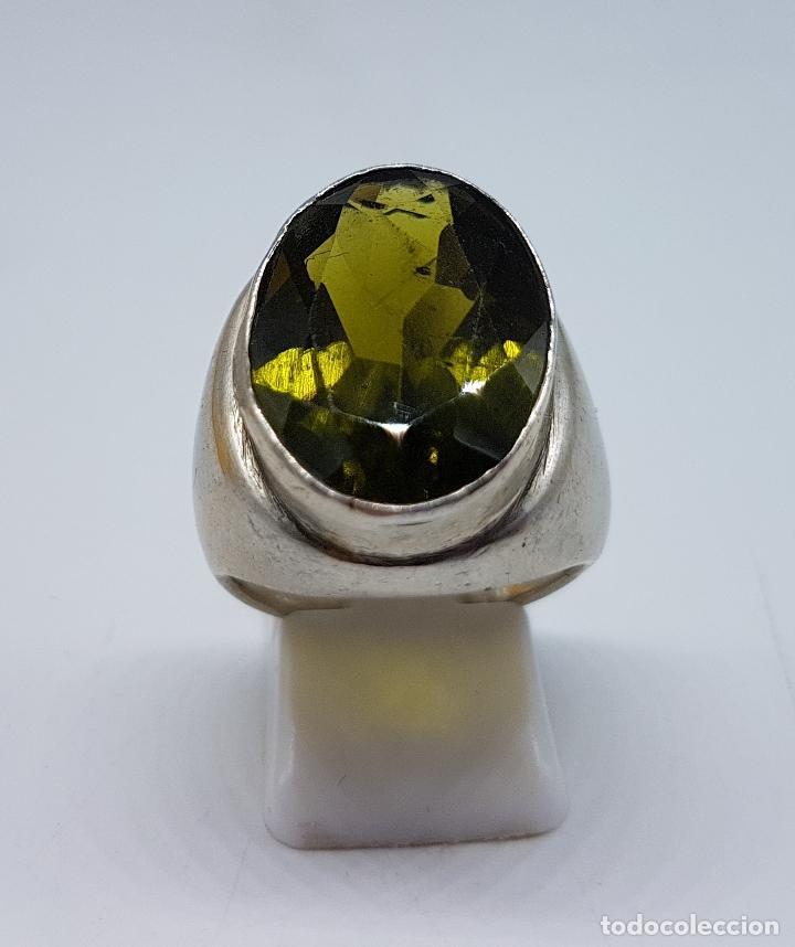 Joyeria: Gran anillo antiguo en plata de ley con olivina talla oval faceteada . - Foto 3 - 107092675