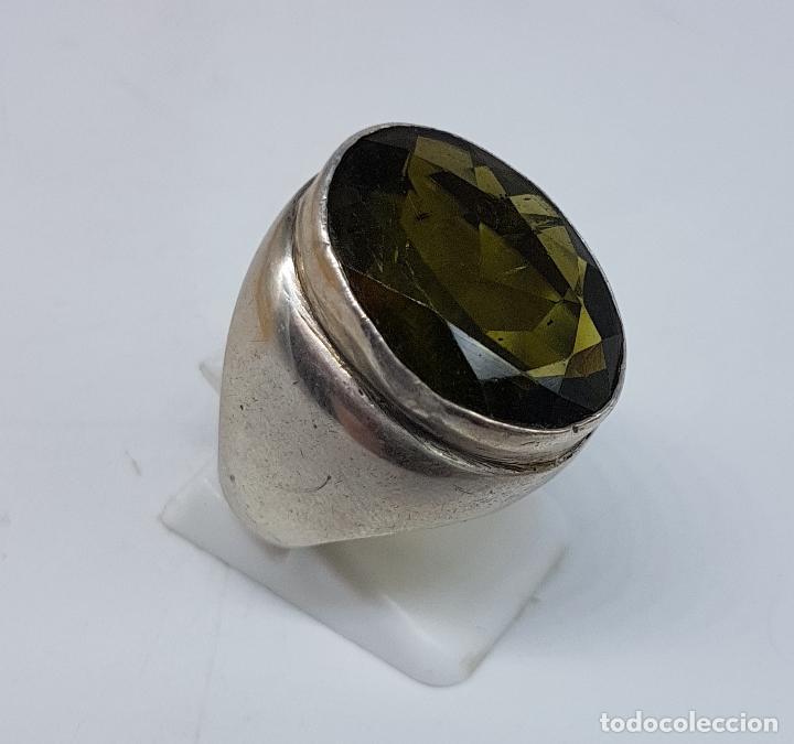 Joyeria: Gran anillo antiguo en plata de ley con olivina talla oval faceteada . - Foto 4 - 107092675