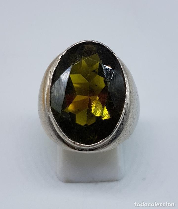 Joyeria: Gran anillo antiguo en plata de ley con olivina talla oval faceteada . - Foto 5 - 107092675