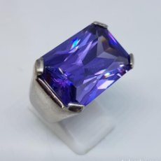 Joyeria - Espectacular anillo antiguo en plata de ley contrastada con amatista talla esmeralda engarzada . - 107097499