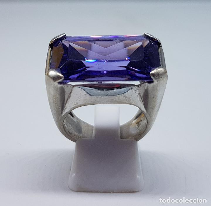Joyeria: Espectacular anillo antiguo en plata de ley contrastada con amatista talla esmeralda engarzada . - Foto 4 - 107097499