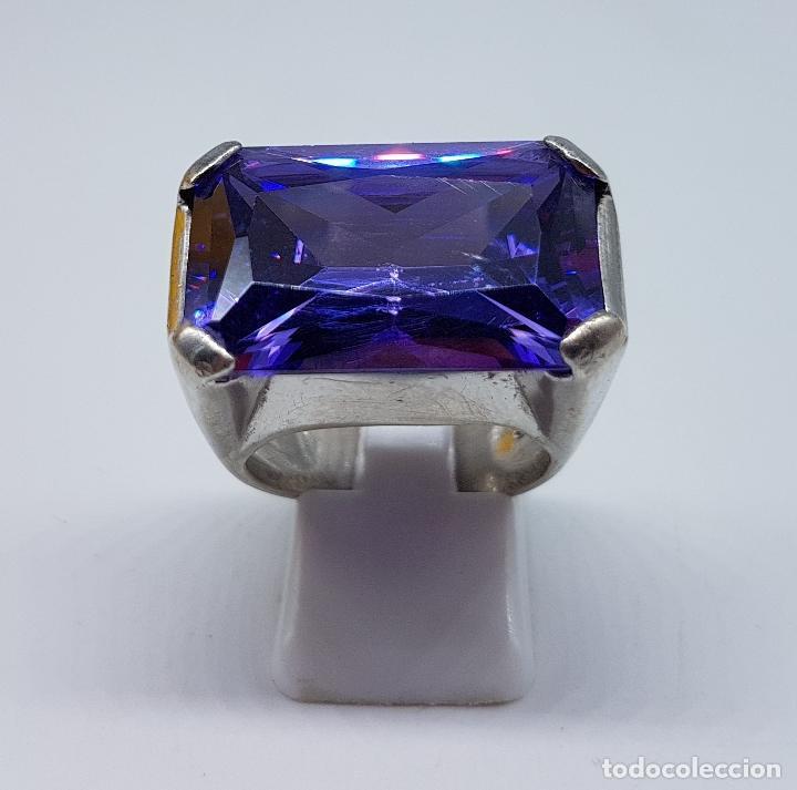 Joyeria: Espectacular anillo antiguo en plata de ley contrastada con amatista talla esmeralda engarzada . - Foto 5 - 107097499