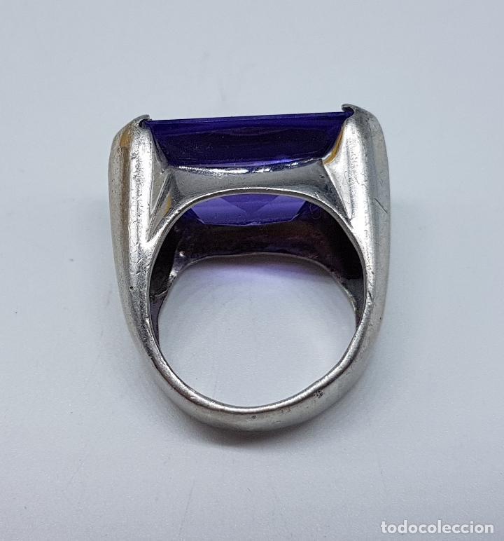 Joyeria: Espectacular anillo antiguo en plata de ley contrastada con amatista talla esmeralda engarzada . - Foto 7 - 107097499