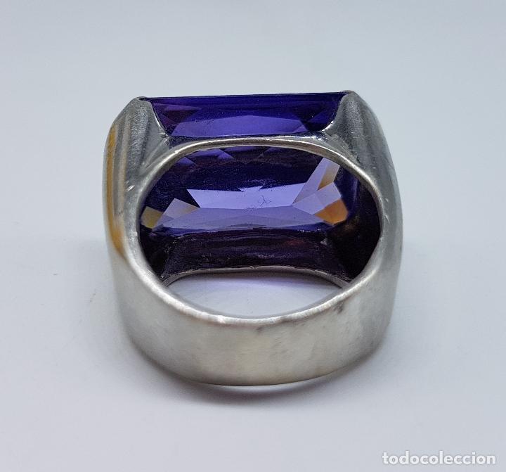 Joyeria: Espectacular anillo antiguo en plata de ley contrastada con amatista talla esmeralda engarzada . - Foto 8 - 107097499
