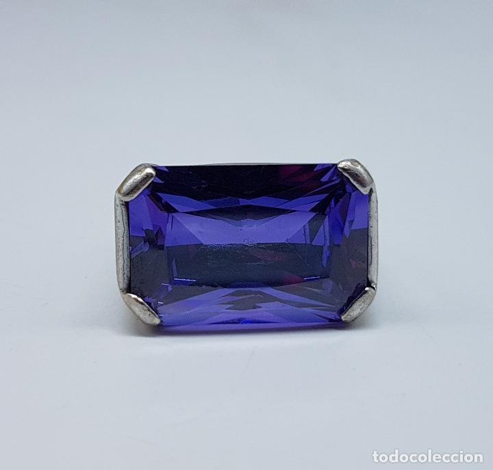 Joyeria: Espectacular anillo antiguo en plata de ley contrastada con amatista talla esmeralda engarzada . - Foto 9 - 107097499
