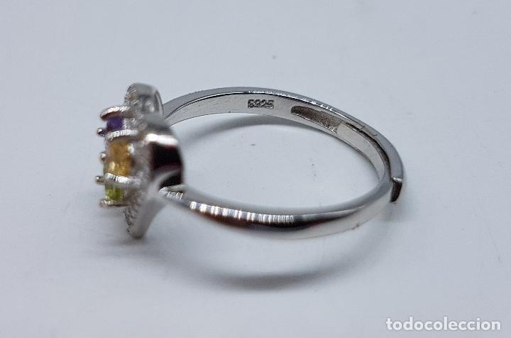 Joyeria: Bella sortija de pedida en plata de ley con circonitas, amatista, citrino y peridoto talla diamante. - Foto 6 - 107380839
