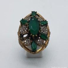 Joyeria - Impresionante anillo en plata de ley, bronce, circonitas talla brillante y esmeraldas talla marqués - 107455475