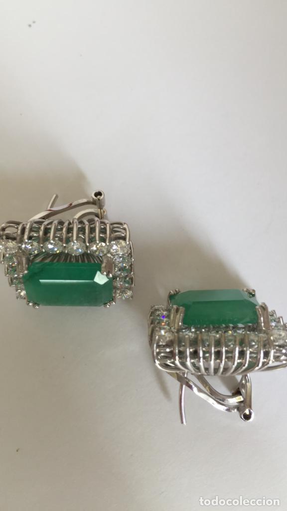 Joyeria: Pendientes de oro blanco 18 Kt con esmeraldas y brillantes - Foto 2 - 107663459